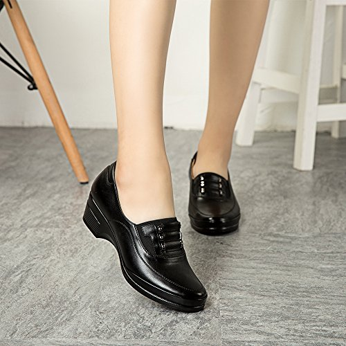 Cestfini chaussures de travail féminin, chaussures mini talon noir pour le travail, chaussures en cuir lisses pour femmes de bureau, chaussures de mode black