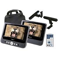 Nevir NVR-2748 DVD-PDCU - Reproductor de DVD portátil estilo tablet, con doble pantalla LCD de 9 pulgadas, 2 soportes, color negro
