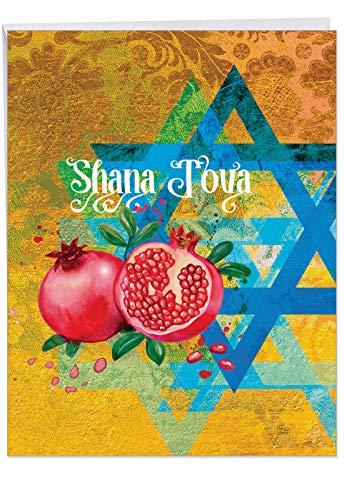 j6135arhg Jumbo jüdische Neujahr Grußkarte: Shana Tova Grüße mit Hebräisch Text und religiöse Bilder für das neue Jahr, mit Umschlag (GIANT Größe: 21,6x 27,9cm) (Mailing-taschen Große)