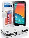Cadorabo Custodia Libro per LG Nexus 5 in Bianco Floreale - con 3 Vani di Carte e Chiusura Magnetica - Portafoglio Cover Case Wallet Book Etui Protezione