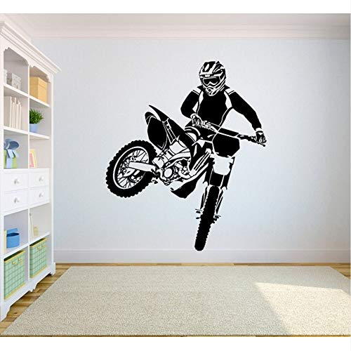 【mzdzhp】【Kann angepasst werden, Größe, Farbe, DIY-Muster】Wandtattoo Motorcross Dirt Bike Aufkleber Schlafzimmer Sport Dirt Bike Motorrad Personalisierte Jungen Teenager Zimmer 42X50cm (Dirt Bike Gold)