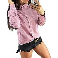 junkai Ladies Casual Gestreiftes Langarmshirt Bluse Pullover Knopf Shirt Crop Tops S-3XL
