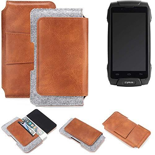 K-S-Trade Cyrus CS 30 Gürteltasche Schutz Hülle Gürtel Tasche Schutzhülle Handy Smartphone Tasche Handyhülle PU + Filz, braun (1x)