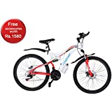Mitras Maverick 26 Inches (White) 21 Speed Shimano Gears - Dual Suspension Mountain Cycle For Kids (11-18 Years)