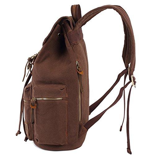 Vintage Rucksäcke,Kaukko Canvas Laptop Rucksack Damen Herren Schulrucksack Daypack Stylisch Backpack für Outdoor Wanderreise Camping mit Großer Kapazität (Grün 702-1) Kaffee