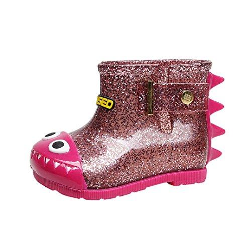 FNKDOR Kinder Jungen Mädchen Gummistiefel Hai Regenstiefel Kurzschaft Unisex Schuhe (24, Rosa)