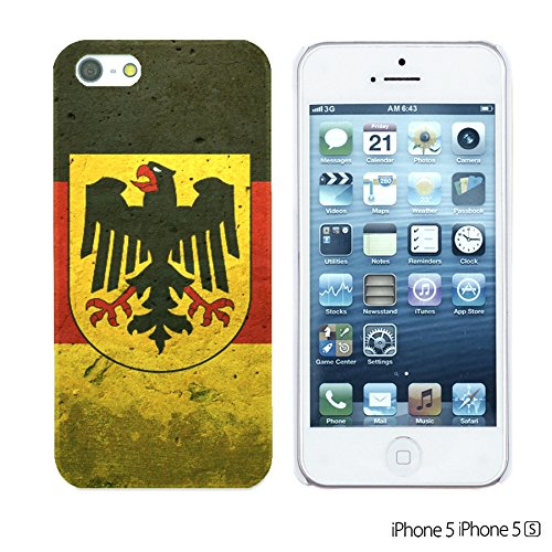 OBiDi - Flag Pattern Hard Back Case / Housse pour Apple iPhone SE / Apple iPhone 5S / 5 - Germany German Flag With Emblem