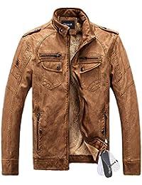 Zicac-Blouson & jacket en PU cuir manches longues doublure en laine pour l`hiver