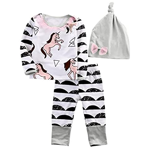 Fulltime(TM) Baby Girl Stripe Horse Clothes Long Sleeve T-shirt + Pants + Hat 3pcs Outfits Sets 6 to 24months (6Months)