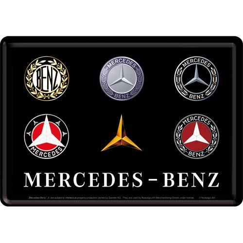 Nostalgic-Art 10318 - Mercedes-Benz - Logo Evolution , Blechpostkarte 10x14 cm , Vintage Grußkarte , Retro Postkarte aus Metall