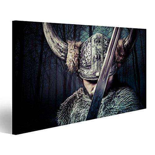 Cuadro Cuadros Espada, Guerrero Vikingo con Casco sobre el Fondo de Textura Vendimia Impresión sobre Lienzo - Formato Grande - Cuadros Modernos DKK