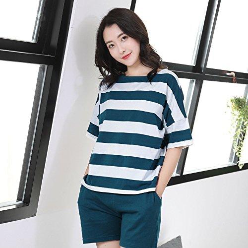 XBR Nachtwäsche Baumwolle Home Kleidung Sommer reine Baumwolle dünn Short Sleeve Pyjama Anzug, L, Lady blue