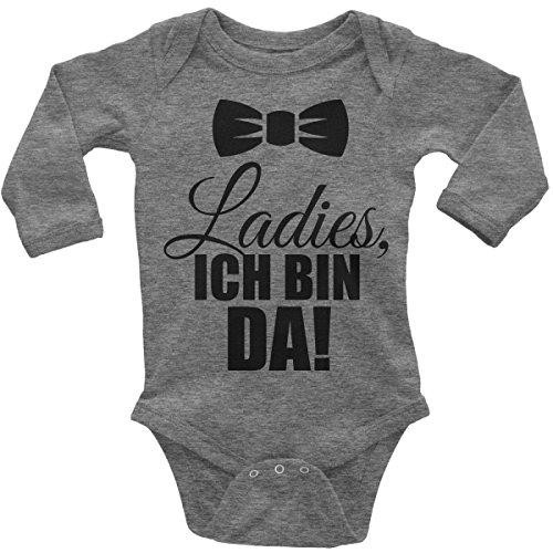 Mikalino Babybody Ladies, Ich Bin da! Langarm, Farbe:Heather;Grösse:56