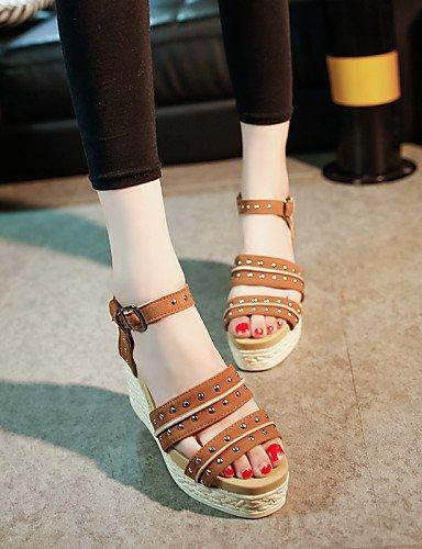 LFNLYX Chaussures Femme-Extérieure / Décontracté-Noir / Jaune / Kaki-Talon Compensé-Compensées / Bout Ouvert / A Plateau / Bout Arrondi-Sandales- Yellow