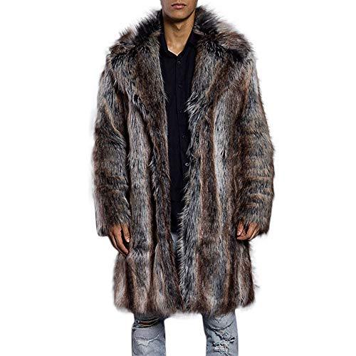Outwear Jacke Kaputzen Herren Mode warme dicke pelzjacke kunstpelz parka outwear strickjacke kragen mantel Braun XXL -