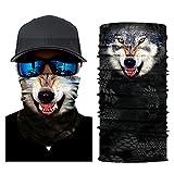 Pairkal 15 typ Bedrucktes Multifunktionstuch Tier Face Shield Sturmhaube Bandana Halstuch Kopftuch Atmungsaktiv Tiersmaske Gesichtsmaske Halstuch Ski Motorrad Paintball Halloween Maske