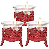 Cocodoes Tlight Candle With Red Crown Candle Stand Holder Set Of 3 For Birthday Anniversary Hotel Spa Christmas Diwali