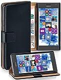 moex® Booklet mit Flip Funktion [360 Grad Voll-Schutz] für Nokia Lumia 730 | Geldfach & Kartenfach + Stand-Funktion & Magnet-Verschluss, Schwarz