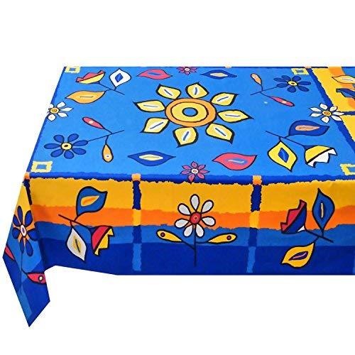 Tovaglia italiana rettangolare in 100% cotone,BARBABLÙ MADE IN ITALY con stampa ECO-FRIENDLY con colori vivaci e fiori geometriche,colore brilliant blue con brilliant yellow misura 140 x 180 cm KUTEX