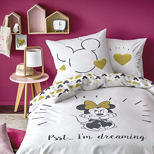 Disney Minnie Maus Bettwäsche Set · Mädchenbettwäsche · Kinderbettwäsche · 1 Kissenbezug 80x80 + 1 Bettbezug 135x200 cm - 100% Baumwolle