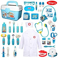 Buyger 35 Pcs Kids Doctors Kit Dress Up Costumes for Children Pretend Role Play Medical Carry Case with Electronic Stethoscope