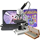 AmScope M200C-PS50-WM-E 40X-1000X Sturdy Metal Body Student Microscope + USB Camera, 50 Slide Set & Book