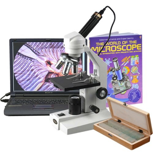 AmScope M200C-PS50-WM-E 40X-1000X Sturdy Metal Body Student Microscope + USB Camera, 50 Slide Set & Book