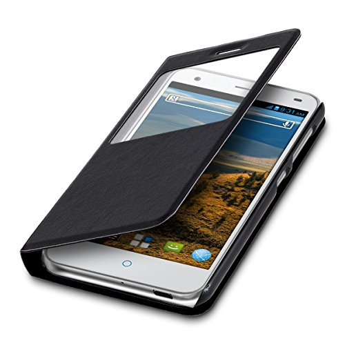kwmobile Flip Case Hülle für ZTE Blade S6 4G LTE mit Fenster - Aufklappbare Tasche Schutzhülle im Flip Cover Style in Schwarz