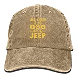 Aoliaoyudonggha All I Need is My Dog and My Jeep Denim Hat Adjustable Cute Baseball Caps