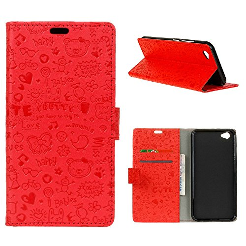 "MOONCASE Sharp Aquos R SH-03J Flip Cover, [Cartoon Pattern] Brieftasche Leder Handyhülle Dauerhaft Stoßfest Ständer Schutz Case für Sharp Aquos R SH-03J 5.3"" Rot"