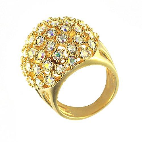 Cristalina Halskette 18K Gold Vergoldet Swarovski Kristall Aurora Borealis Disco Kugel Ring-Größe - Aurora Gold Kostüm