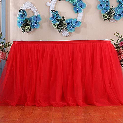 Elegante Tutu Rock Tüll Rock Tischröcke für Rechteck Romantische Tischdeko,Geburtstag Hochzeit Festliche Party Decor Tischdecke Tischdekoration Baby Dusche Dekoration ()