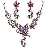 Clearine Damen Bohemien Boho Delicate Kristall Schmetterling Blume Garten Statement Halskette Dangle Ohrringe Schmuck Set Fuchsie