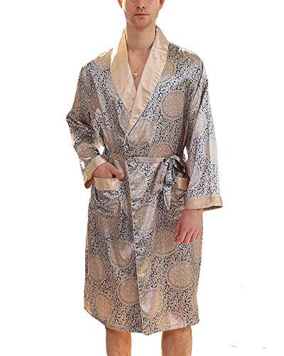 ceb62f830c BAIHUODRESS Accappatoio per Uomo, Vestaglia da Notte Kimono Raso Pigiama  Sleepwear, Lusso Robe Accappatoio