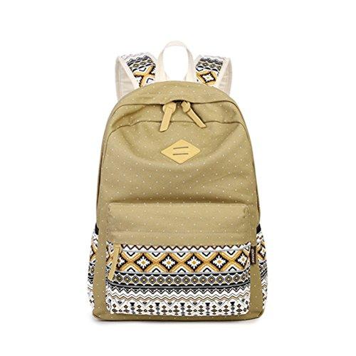 Bookbag Gold (Winnerbag Hochwertige 15,6 Zoll Computer Leinwand Schule Rucksäcke Frauen Knapsack Bookbag billig Khaki)