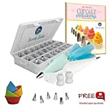 Cake Piping Tips 50 Piece Set: 30 Stainless Steel Piping / Icing Nozzles ...