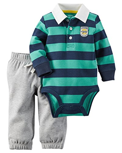 CARTER'S 2 teilig Langarmbody + Hose Baby Outfit Kombinatiom Polo Junge boy 0-24 Monate bestickt (3 Monate, grün/grau) (Carters Baumwolle Kinder)