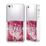 Head Case Designs Silber Nagellack Heiss Pink Handyhülle mit flussigem Glitter für Apple iPhone 5/5s/SE