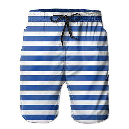 Blue and White Stripes Men Fashion Quick Dry Swim Trunks Beach Shorts with XX-Large Jordan Mens Classic Fleece