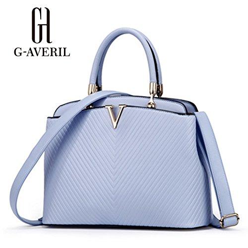 (G-AVERIL) Borse Donna, Borse in Pu Pelle Semplice Borsa Tote Grande Capacità blu1