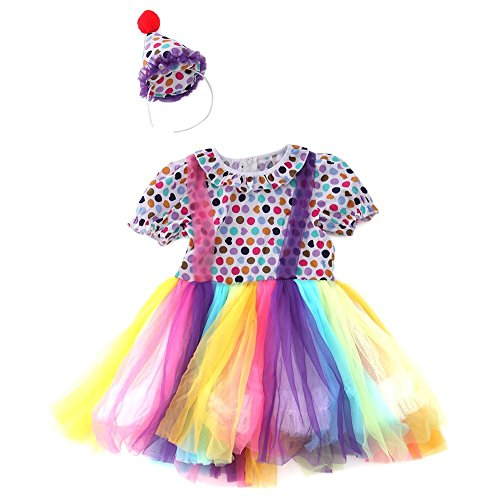 YouN New Year kleine Mädchen bunte Mesh Rainbow Kleid Kind Clown Custome ()