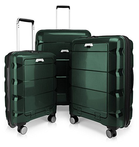 HAUPTSTADTKOFFER - Britz - 3er Koffer-Set Trolley-Set Rollkoffer Reisekoffer Erweiterbar, TSA, 4 Rollen, (S, M & L), Dunkelgrün