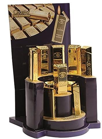 Pack 16 Gold Bullion Ingot Bar Champ Electronic Gas Lighter Refillable Gold Lighter