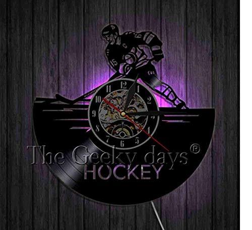 HHYXIN Schallplatte Wanduhr Schallplatte Wanduhr Sport Time Clock Eishockey Handgemachte Nusery Wall Art Decor Housewariming Geschenk Für Jugendliche Männer Frauen,12 Zoll