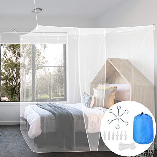 Buzifu zanzariera letto singolo zanzariera lettino da campeggio con kit completo per la sospensione zanzariera quadrata per interni ed esterni (200 * 100 * 190cm)