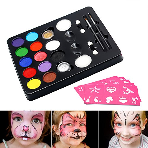 inkset, Schminkpalette mit 2 Glitzer und 3 Pinsel, Kinderschminken Profischmink für Kinder Tiermasken Körperfarben Halloween Karneval Make-up Bodypainting Facepainting (Einfache Halloween Gesicht Make-up Ideen)