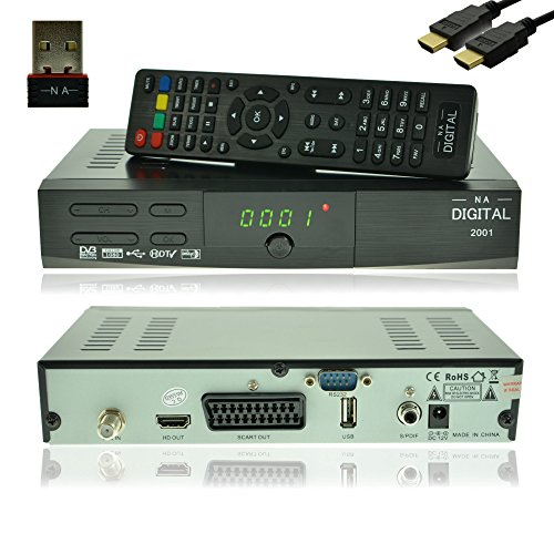 NA-Digital 2001 HD HDTV digitaler Satelliten-Receiver mit Wifi USB YouTube Sat-Receiver vorprogrammiert receiver HDMI SCART USB 2.0 Full DH 1080p HDTV