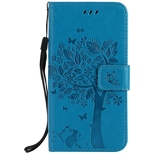 Samsung Galaxy A5 2017 Case Leather [Blue], Cozy Hut [Wallet Case] Premium Soft PU Leather Notebook Wallet Embossed Flower Tree Design Case with [Kickstand] Stand Function Card Holder and ID Slot Slim Flip Protective Skin Cover for Samsung Galaxy A5 2017- Blue Test