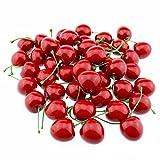 GOOTRADES Künstliche Lebensechte Simulation Rote Kirschen Fake Frucht für Party Dekoration (Packung mit 50)