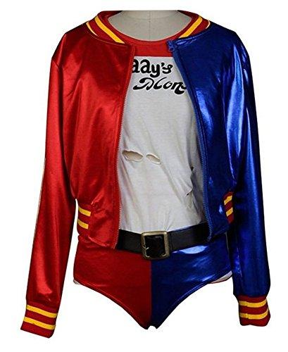 Tiny Time Damen Cosplay Kostüme Halloween Outfit Jacke Kurz (Harley Outfits Quinn)